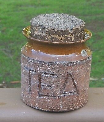 Charming Old Vintage Rustic Australian Florenz Pottery Tea Caddy Canister