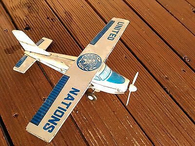 Japan  T.t United Nations Tin Toy Airplane Friction Motor Rare