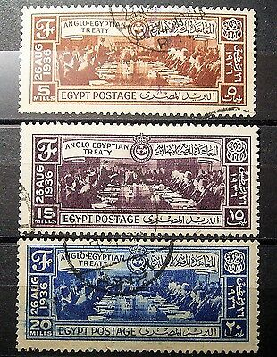 Egypt ...1936 Anglo-Egyption Treaty, 3 Used Stamps Nice Condition