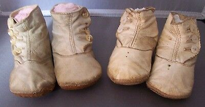 Antique Victorian Kid Leather Baby Shoes-2 Pair