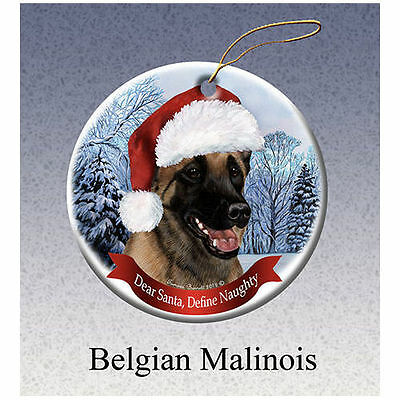 Belgian Malinois Howliday Porcelain China Dog Christmas Ornament