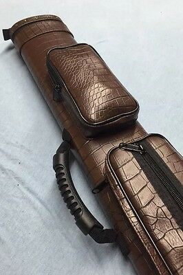Vincitore by J&J Brown Croc Embossed Leatherette Case 2 Butt 4 Shaft 2x4 !!!