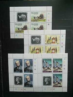 Barbuda lot of 4 mint NH miniature sheets for stamp anniversary