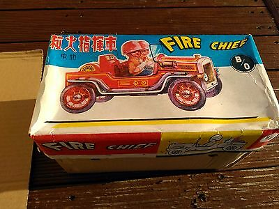 Fire Chief Jeep Tin & Plastic Battery Powered Me699 Bump And Go Tin Toy China