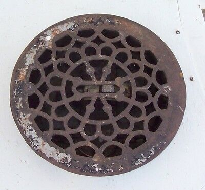 Vintage Cast Iron Round Ornate Vented Louvered Heat Grate Antique Architectural