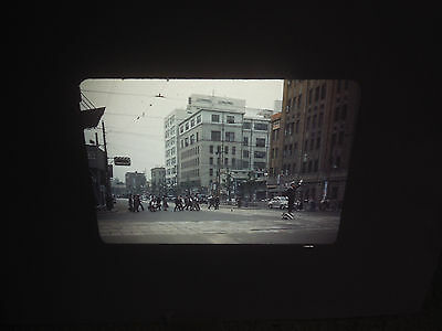 #26 1950's Red Border Kodak Slide TOKYO JAPAN  Downtown Street Police Man / Cars