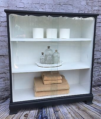 Refinished Vintage Mid Century Double Sliding Glass Bookcase Display Cabinet