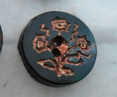 "WOW 3/4"" Gold Outline Flowers Whistle GlassBlack Antique Button 489:8"