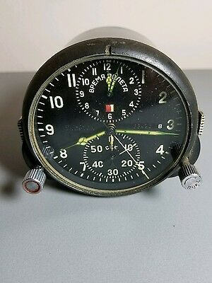 AChS-1 Military AirForce Aircraft Cockpit Clock Mig Russian Soviet made in USSR