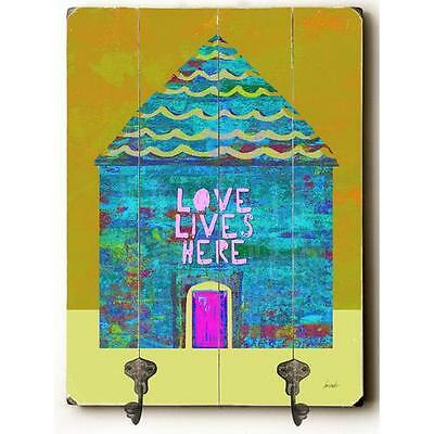 Love Lives Here Planked Wood Wall Mounted Coat Rack Zipcode™ Design (NEW)