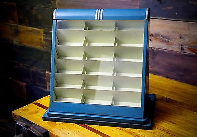 Vintage Art Deco Blue Glass Country Store Display Case - Fishing Lures Watches..