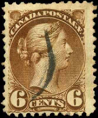 Canada #39 used F 1872 Queen Victoria 6c yellow brown Small Queen CV$15.00