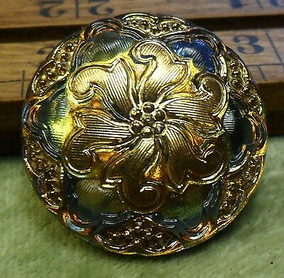 WOW 1 1/8 Nice Old Glass Antique Button 233:24