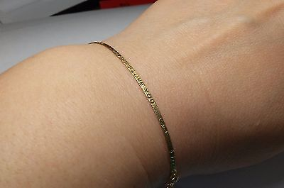 """New 14K 585 Solid Real Yellow Gold Italy Herringbone Chain Bracelet 2mm 7"""" 1 gr."""