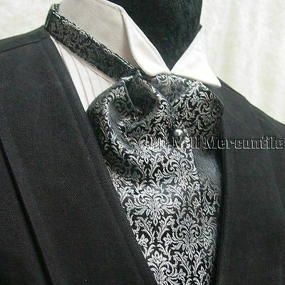 Cravat ascot wedding sass old west tie black and gray made in USA