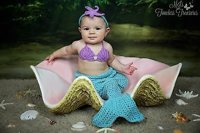 Baby Mermaid Outfit - Crochet Halloween Costume - Newborn Photo Prop - Mermaid