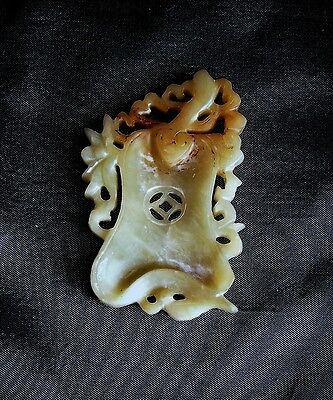 Chinese Carved Light Yellow Jade Republic Period Medallion c. 1930