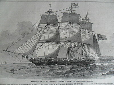 1849 Original Print Whaling Ship SAMUEL ENDERBY for Auckland Islands ILN