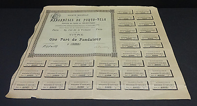 Antique 1903 Societe Nouvelle des Manganeses de Porto-Belo France Share Stock