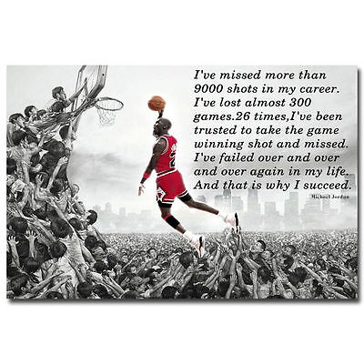 11995 Why I Succeed - Michael Jordan Dunk Motivational Quote Art Poster AU