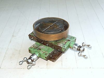 Vintage X Y Cross Slide Milling Table W/ Round Brass Dish Top + Discharge Chute