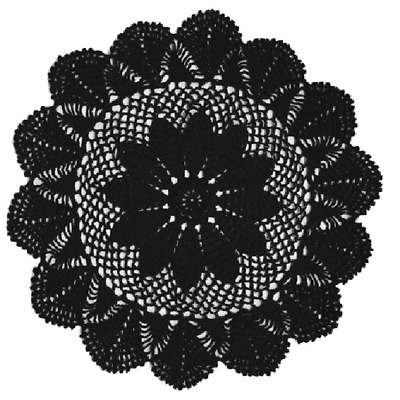 Crochet Cotton Round Doily 40cm - Black