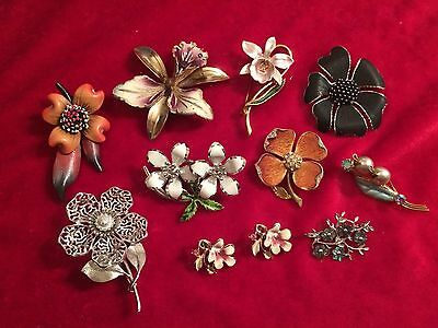 Lot of Eleven Flower Brooches