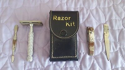 Vintage Gillette  Travel Aire Safety Razor Shaving Kit LEATHER case