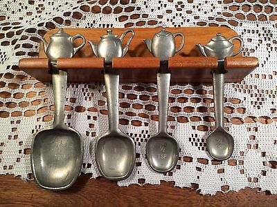 Set Of 4 Seagull Pewter 1994 Teapot Measuring Spoons With Rack