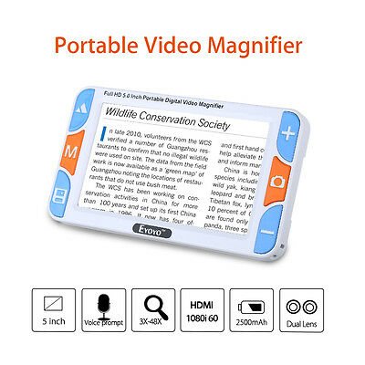 """5"""" LCD 3X-48XVideo Handheld Digital Magnifier Reading Aid Voice Prompt Dual Lens"""