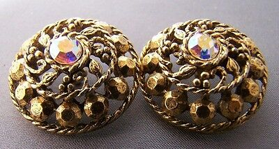 Sparkly Antique/vintage Pair Of Buttons Large Rhinestone