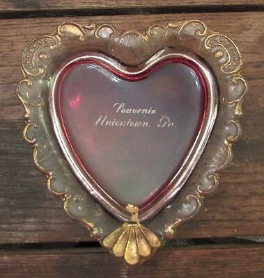 Antique EAPG Ruby Red Souvenir Heart Shaped Glass Tray Uniontown PA Pennsylvanni