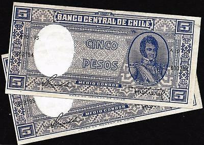 Lot Of 2 Chile ~ 1947-48 Nd ~ 5 Pesos 1/2 Condor ~ P110 ~ Sequential Banknotes