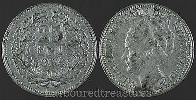 1928 Netherlands 25 Cents Silver Coin
