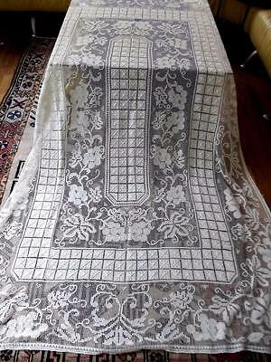 Antique Italian Hand Knotted Net Darned Filet Lace 64x84 Tablecloth Grape Vine