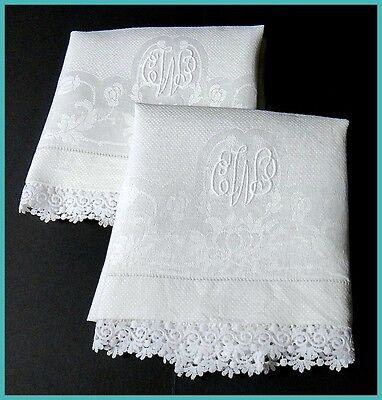"Damask Linen Hand Towels 32"" - ""CWP"" Monogram - Vintage Schiffli Lace Beautiful!"