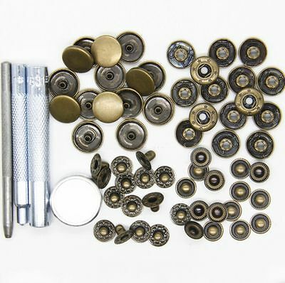 15 Set 15mm Press Studs Kit Snap Popper Fastener Sewing Leather Buttons 3 Color