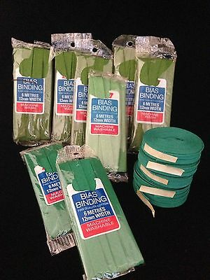 Group 13x Sewing  - Embassy Cotton Bias Binding Approx.12mm Wide Green