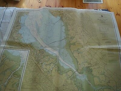 Vintage san francisco bay map southern part US department of commerce