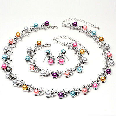 Multicolor Pearl Necklace Earring Bracelet Set Fashion Wedding Jewelry Sets