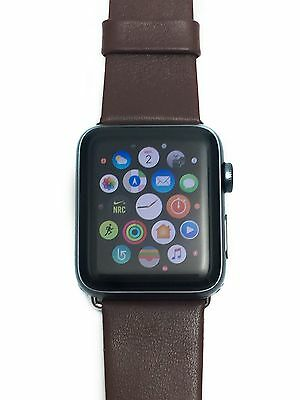42mm Apple Watch Band Strap Genuine Leather, Brown, Black, White, Red, Blue