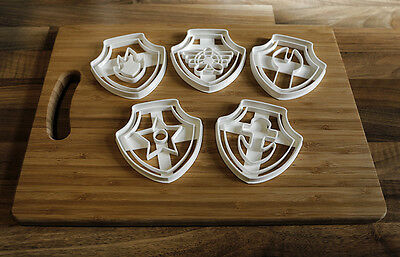 Paw Patrol Cookie Cutters - 5 Unique Paw Patrol Biscuit Cutters - FREE UK DEL