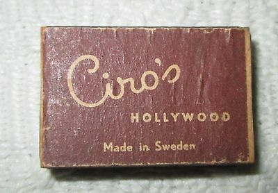 Vintage Ciro's Hollywood Matchbox with Wooden Matches Made in Sweden