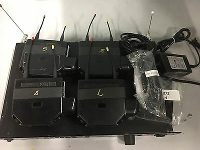 HME Clear-Com PRO850 wireless intercom package 4 Beltpacks, rack, cables.