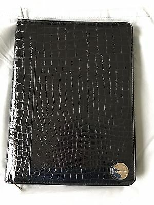 Oroton A4 Folio in Patent Croc Embossed Black leather