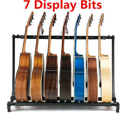 7 display bit Multi Guitar Rack Padded Holder Stand Electric Acoustic Bass Home
