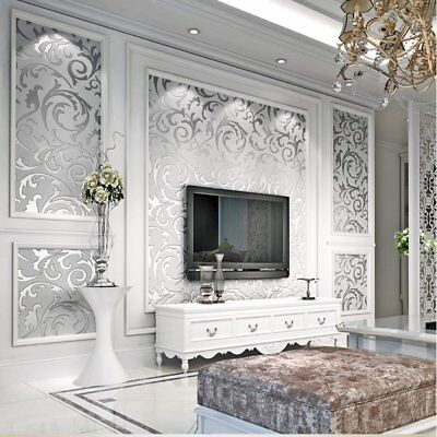 10M Victorian Damask Design Luxury Embossed Wallpaper Rolls Silver Wall Paper SQ