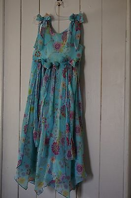 Girls size 6 blue floral dress, Barbie brand