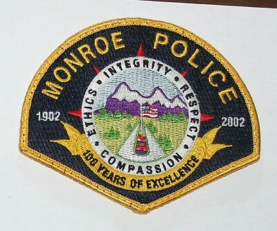 MONROE POLICE 1902-2002 100 years of excellence Washington WA PD Used Worn patch