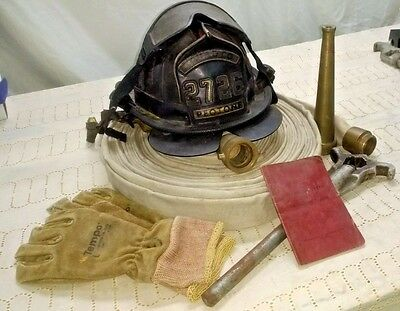 Vintage Fire Fighting Equip. Helmet hose nozzle hydrant-wrench book Peotone C04